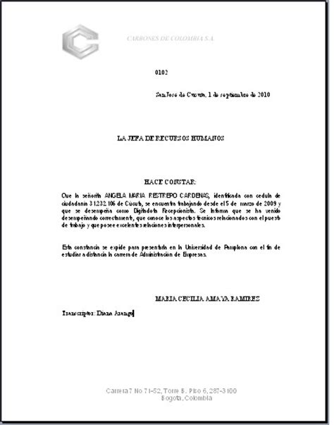 ejemplo de constancia maria cecilia amaya de wilches septiembre 2010