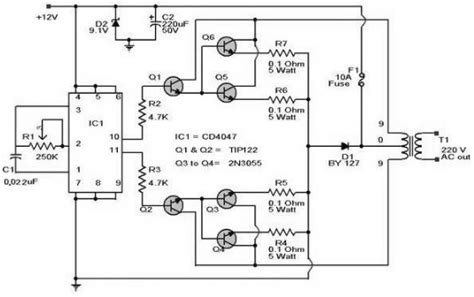 12vdc to 120vac inverter schematic get free image about