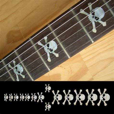 Inlay White fretboard markers inlay sticker decals for guitar bass skull white black in guitar parts