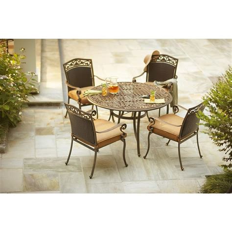 Martha Stewart Patio Dining Set Martha Stewart Living Miramar Ii 5 Patio Dining Set With Cushions Ly58 Din5a The