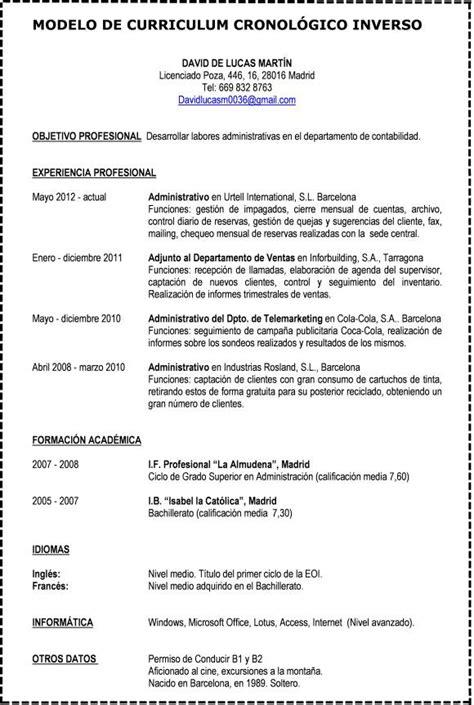 Modelo De Curriculum Vitae Cronologico Word Formato De Curriculum Vitae