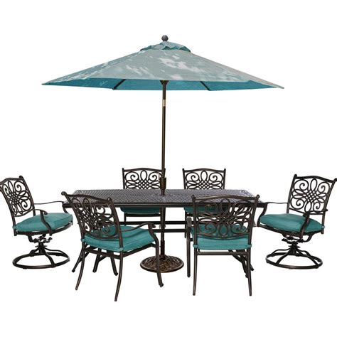 Patio Table Chairs Umbrella Set Cambridge Seasons 7 Patio Outdoor Dining Set With Blue Cushions And Table Umbrella And