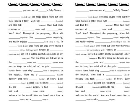 Baby Boy Shower Mad Libs Free by Baby Shower Guestbooks And Activities A