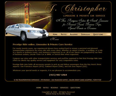 limousine website california website design company ca web design company