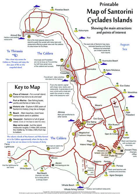 printable road map of greece santorini free printable map of the island