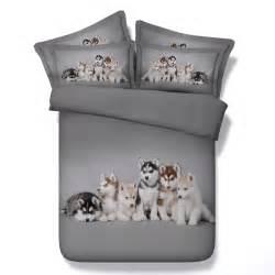 jf 107 husky babies 3d digital animal print bed sheet set