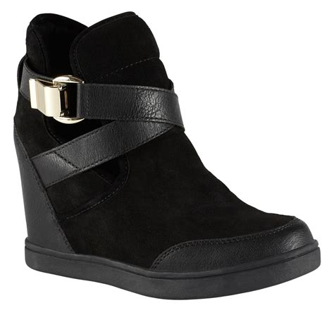 aldo valaire wedge trainer shoes in black lyst