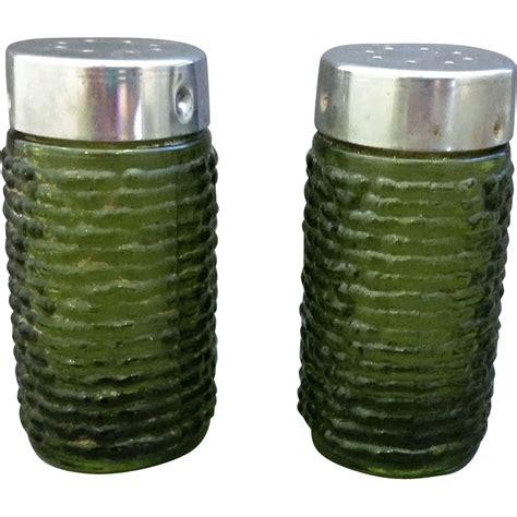 Green Salt L by Soreno Avocado Green Salt Pepper Shakers Anchor Hocking
