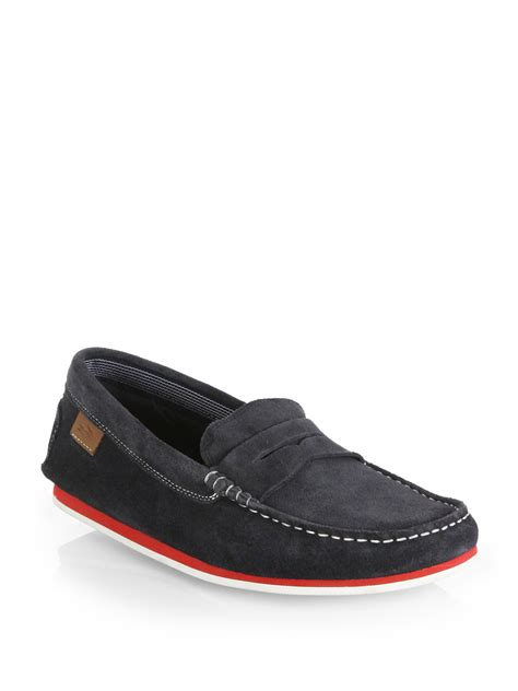 lacoste loafers lyst lacoste chanler suede loafers in blue for
