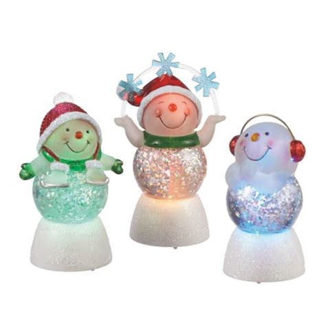 snowman mini shimmer acrylic lighted figurines set of 3