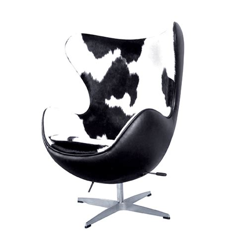 Black And White Cowhide Chair - egg chair black white cowhide leather reproduction by home