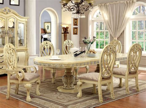 112 quot versailles antique white formal dining table set