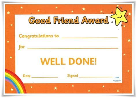 best friend certificate templates best friend award certificate templates gallery