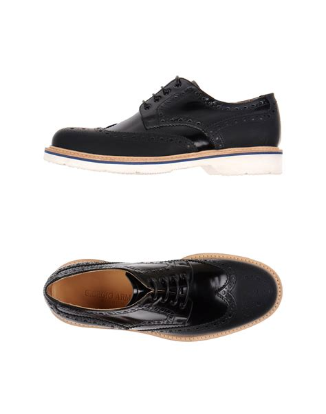giorgio armani laceup shoes in black for lyst