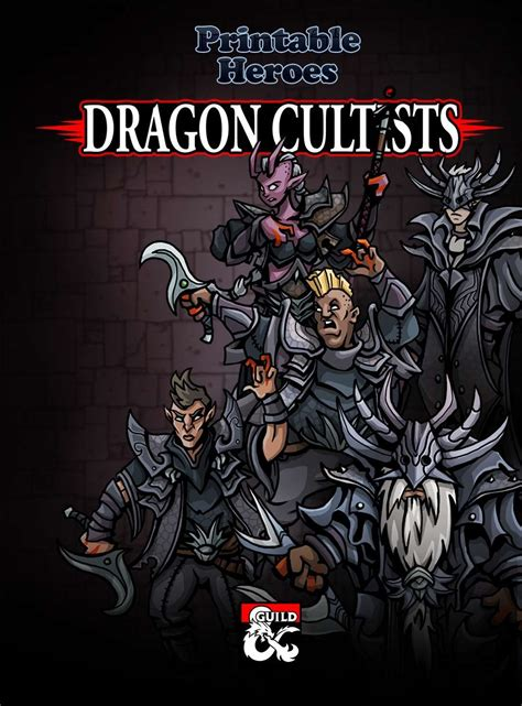 printable heroes tiefling dragon cultists paper miniatures dungeon masters guild
