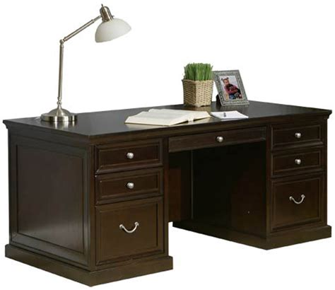 Espresso Office Desk with Espresso Pedestal Executive Office Desk