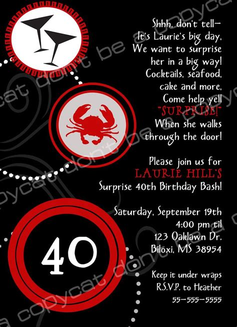 birthday invite wording surprise lordy lordy forty