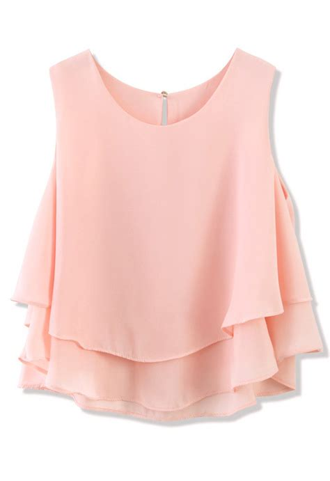 Pastel Top layered chiffon crop top in pastel pink retro and unique fashion