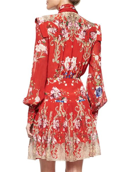 Tie Neck Floral Dress roberto cavalli floral print tie neck dress