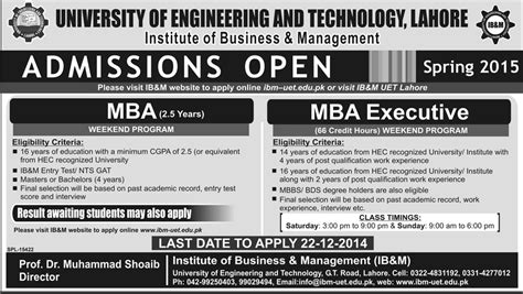 Executive Mba Admission 2015 Pune by Uet Lahore Mba Executive Mba Admission 2015 Form