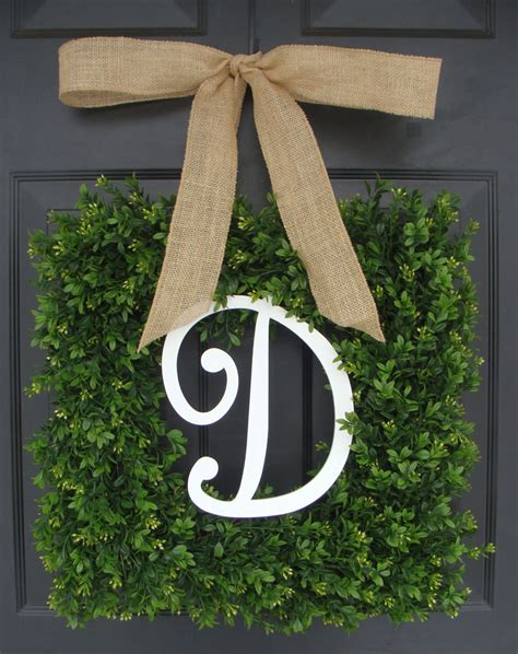 Boxwood Wreath Monogram Wreath And Monogram Boxwood Wreath Boxwood Monogram Wreath With Burlap