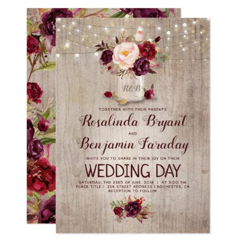 burgundy floral jar rustic wedding invitation zazzle