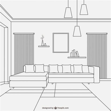 Dise 241 O De Sala De Estar Estilo Lineal Descargar Vectores Living Room Furniture Templates