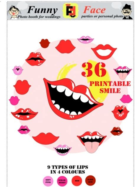 lips from wedding red black printable photo booth prop set 36 diy pdf printable lips smile photo booth props for