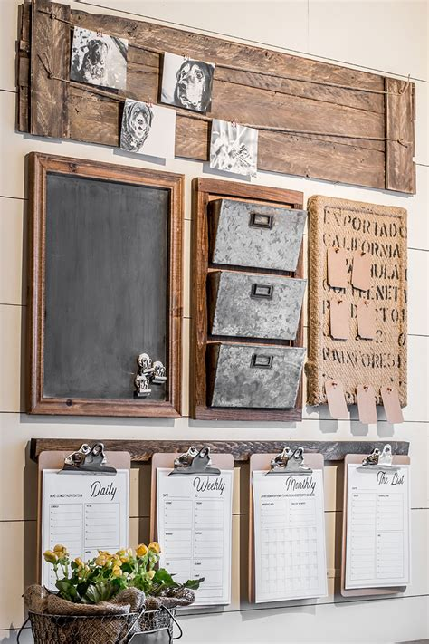 a diy farmhouse style command center with free printables