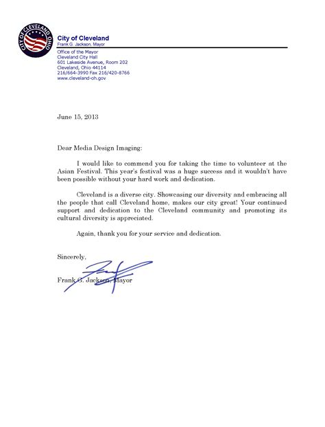 Thank You Letter For Qa Media Design Imaging Thank You Letter From Mayor Jackson