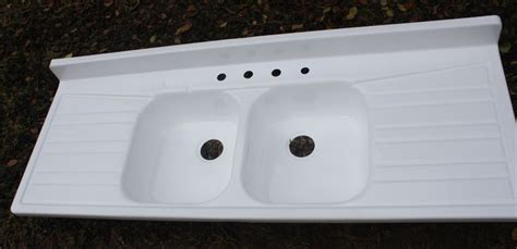 large ceramic  enameled sinks  drain board