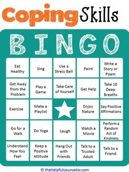 Coping Card Template by Coping Skills Bingo By The Helpful Counselor Tpt