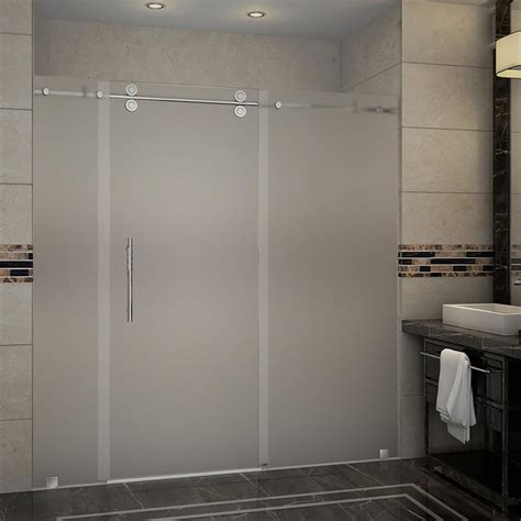 Frosted Glass Sliding Shower Doors Aston Langham 72 In X 75 In Completely Frameless Sliding