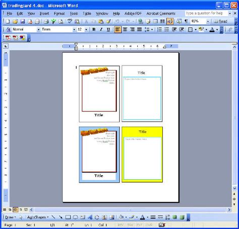 microsoft word card template trading card reports