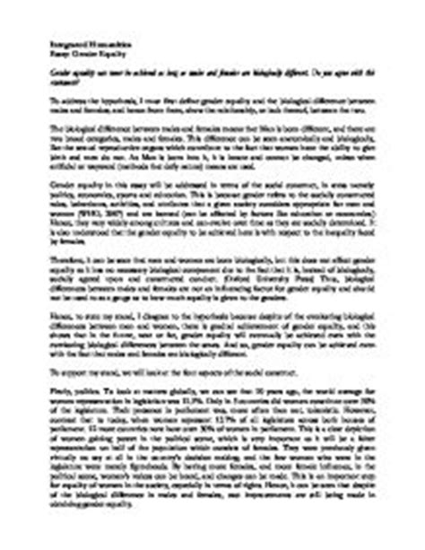 essay on gender equality gcse miscellaneous marked by
