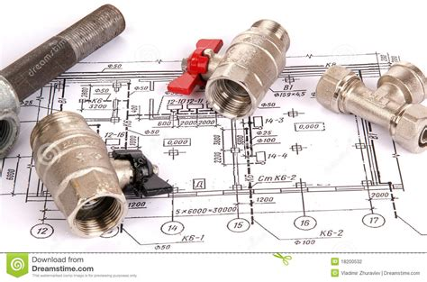 Plumbing Parts And Supplies by Blueprint And Plumbing Supplies Stock Photography Image