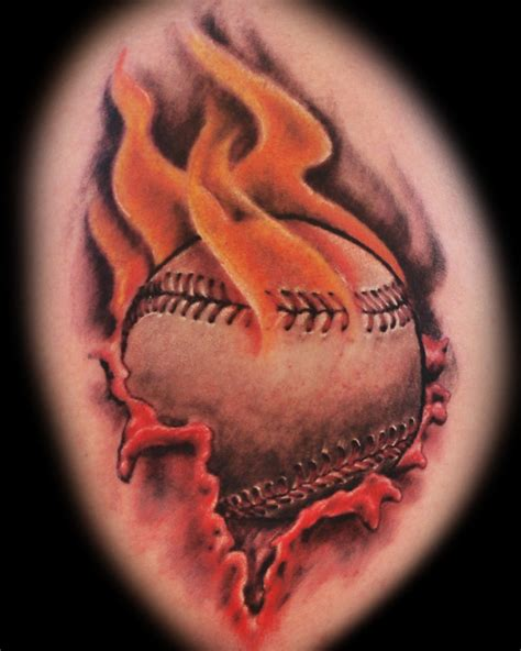 cool baseball tattoos flaming baseball by joshing88 on deviantart