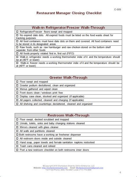 Kitchen Manager Checklist by Closing Manager Checklist Workplace Wizards Restaurant Consulting