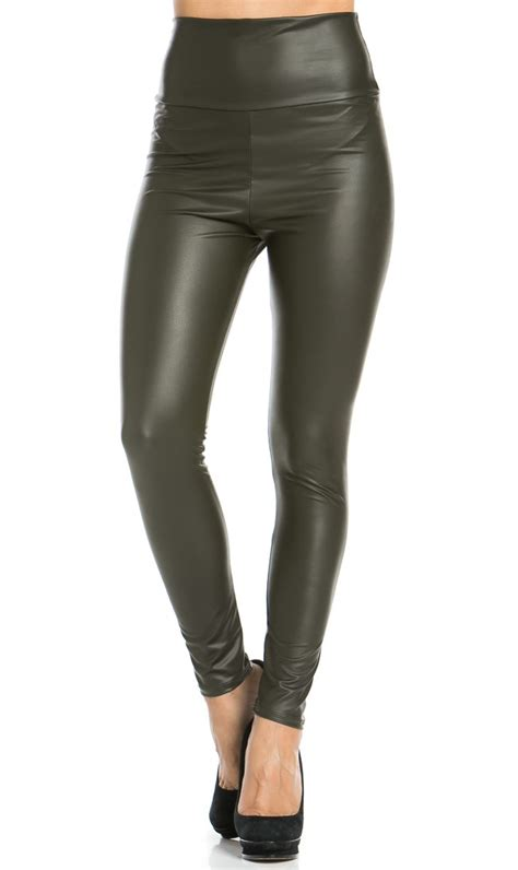 high waisted leather high waisted faux leather in olive