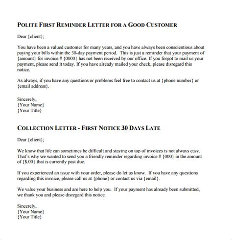 Credit Collection Form Letters Collection Letter Template 7 Documents For Pdf