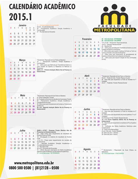Calendario Academico Calend 225 Acad 234 Mico 2015 1 Faculdade Metropolitana