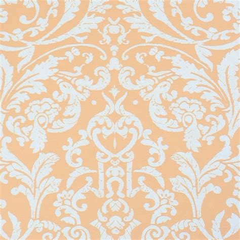 luscious orange pink ornamental wallpaper contemporary
