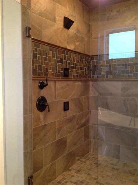 custom tile shower custom tile shower with slate accent for the home