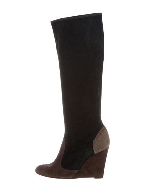 cheap wedge boots moschino cheap and chic suede knee high wedge boots