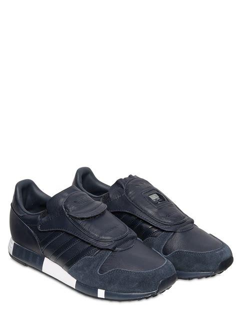 adidas leather sneakers adidas originals hyke micropacer leather sneakers in black