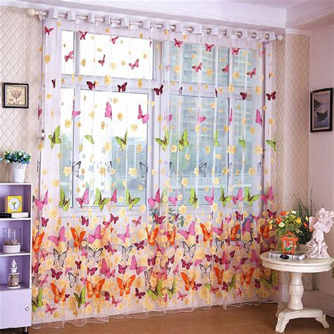 sheer butterfly curtains butterfly print sheer window curtain tulle voile curtains