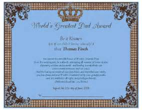 world s greatest dad award certificate father s day