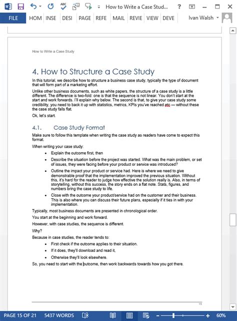 Case Study Templates 21 X Ms Word Sles Writing Tutorials How To Write A Template