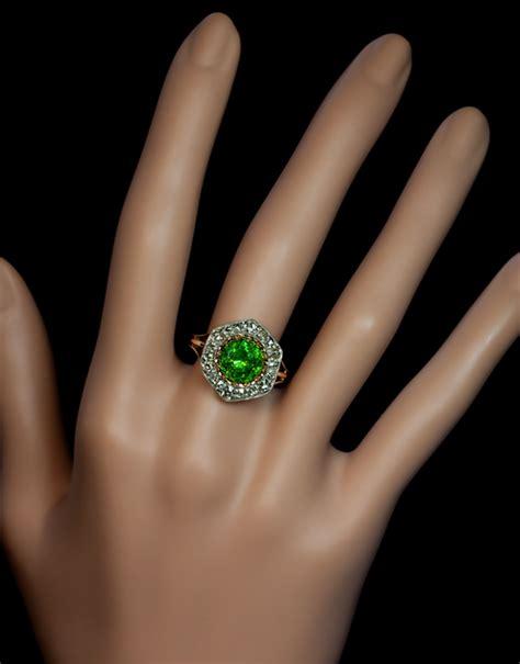 Sparsatine Garnet 5 84 Ct almost 3 carat russian demantoid garnet ring antique