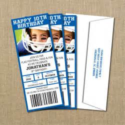 football ticket template football birthday ticket invitation digital file